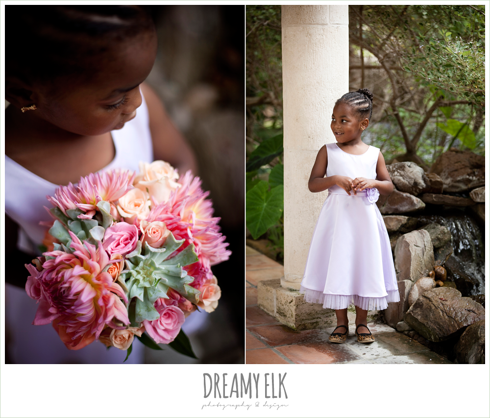 purple flower girl dress, pink and orange bouquet, northwest forest conference center, dreamy elk photography and design