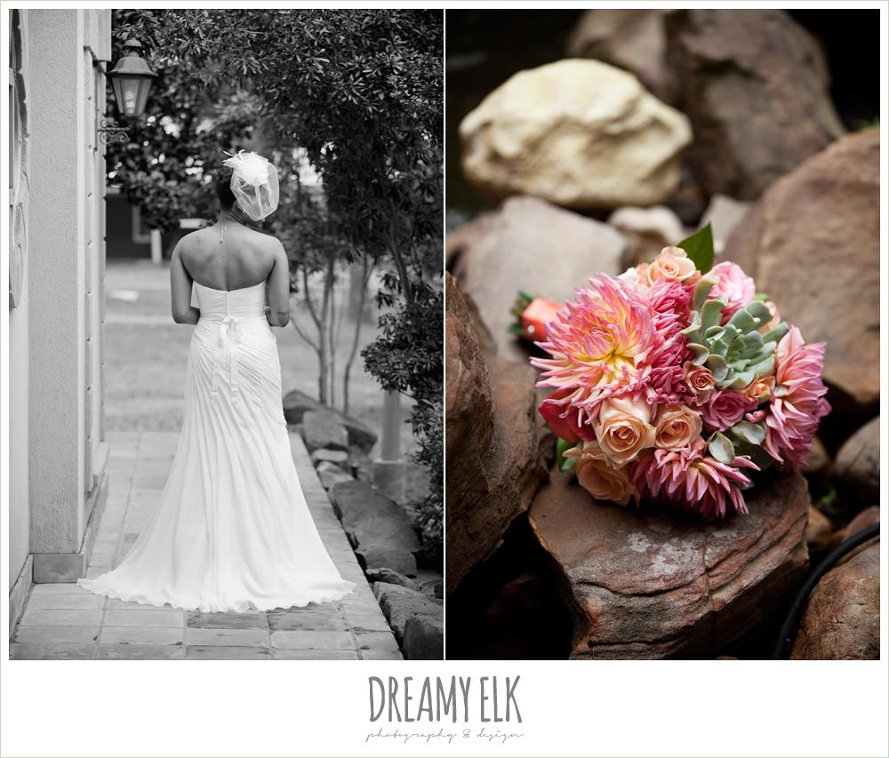 strapless wedding dress, birdcage veil, pink and orange bouquet, northwest forest conference center, dreamy elk photography and design