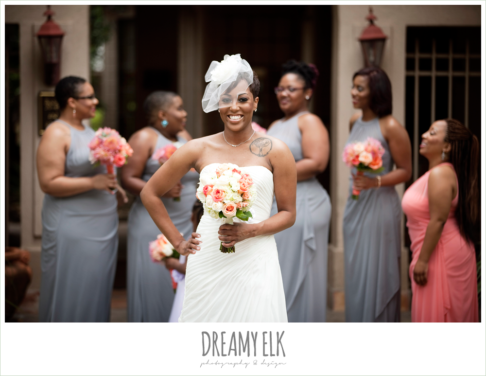 gray and pink bridesmaid dress, strapless wedding dress, birdcage veil, northwest forest conference center, dreamy elk photography and design