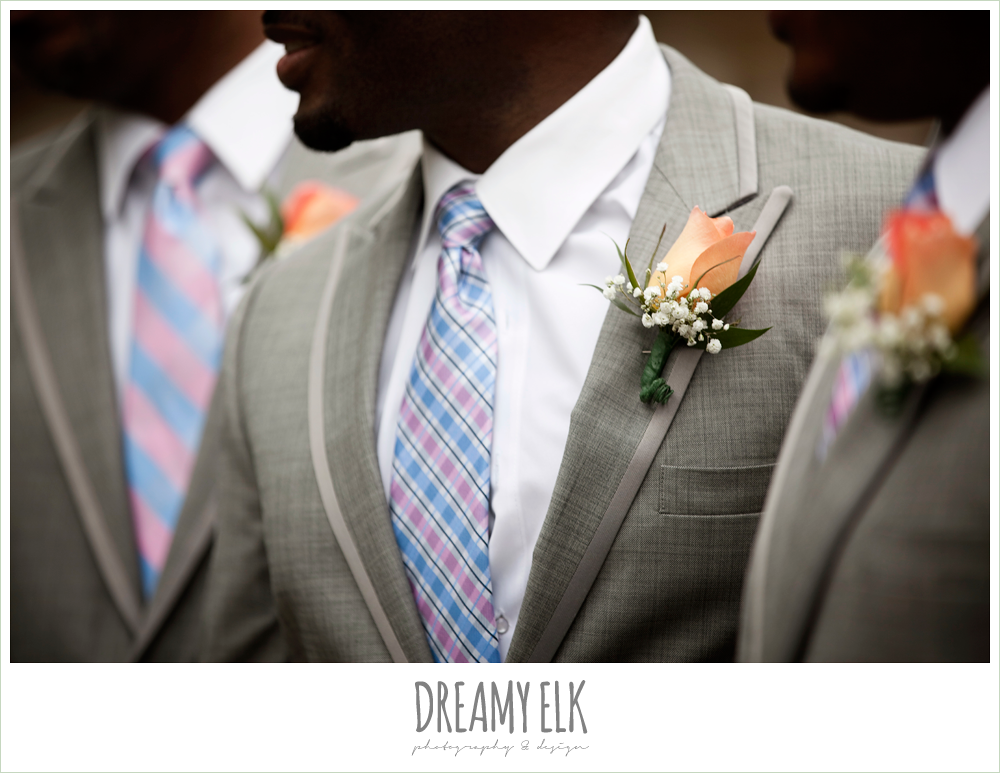 pink and blue mismatched groomsmen ties, gray suits, orange boutonniere, northwest forest conference center, dreamy elk photography and design