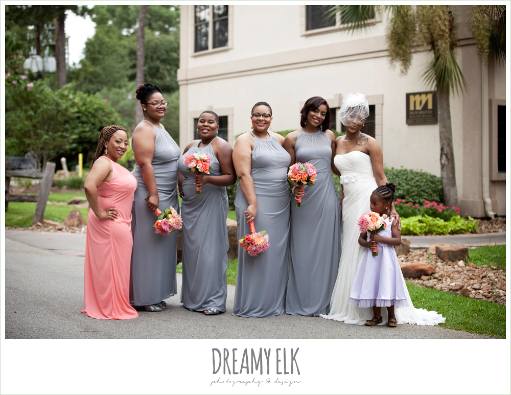 gray and pink bridesmaid dress, purple flower girl dress, pink and orange bouquets, strapless wedding dress, birdcage veil, northwest forest conference center, dreamy elk photography and design