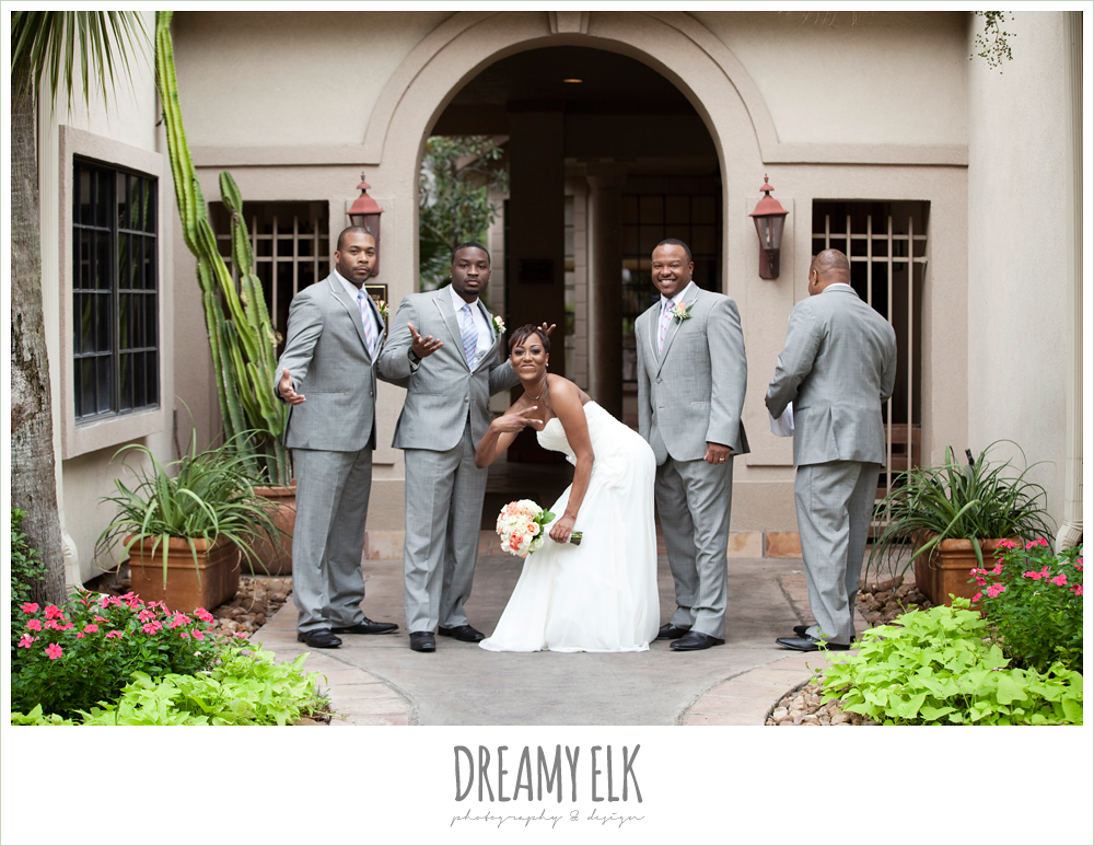 funny bride with groomsmen photo, northwest forest conference center, dreamy elk photography and design