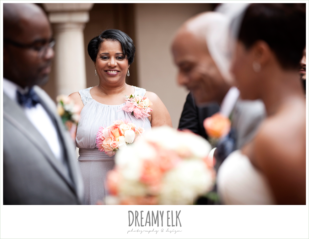 mother of the bride smiling at bride, northwest forest conference center, dreamy elk photography and design