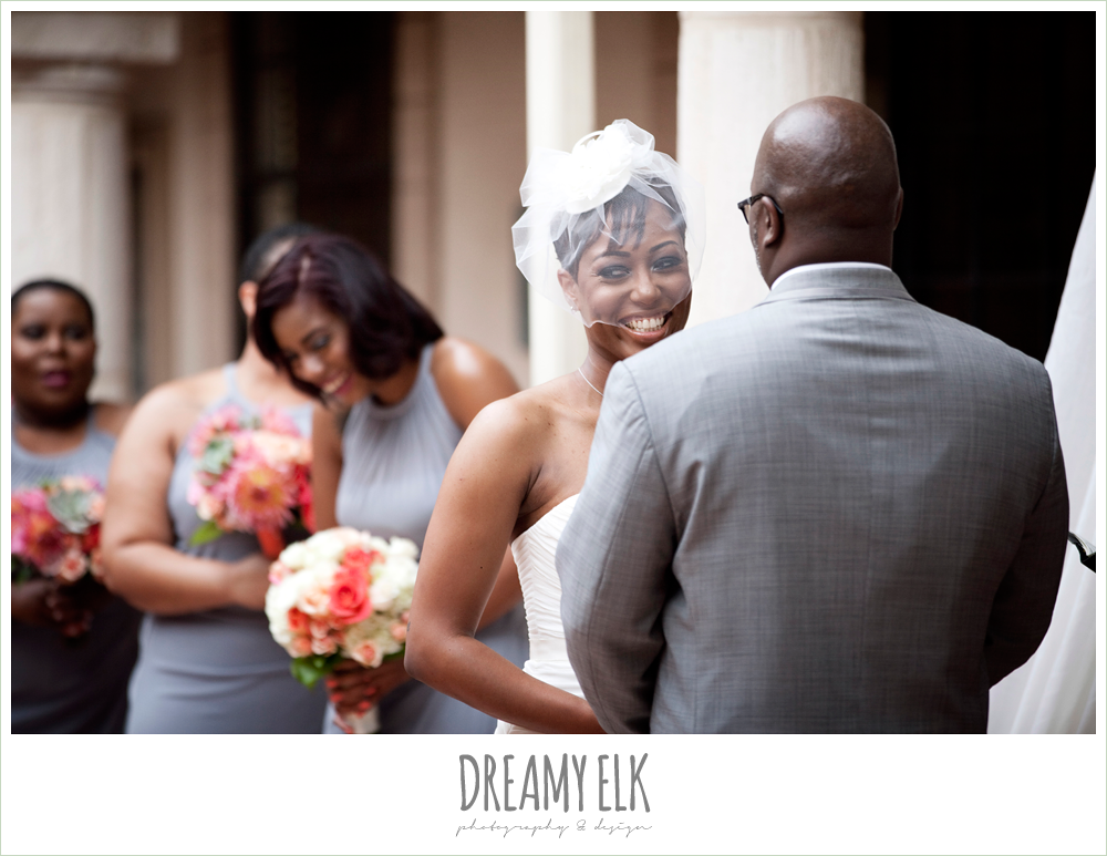 bride laughing during ceremony, northwest forest conference center, dreamy elk photography and design