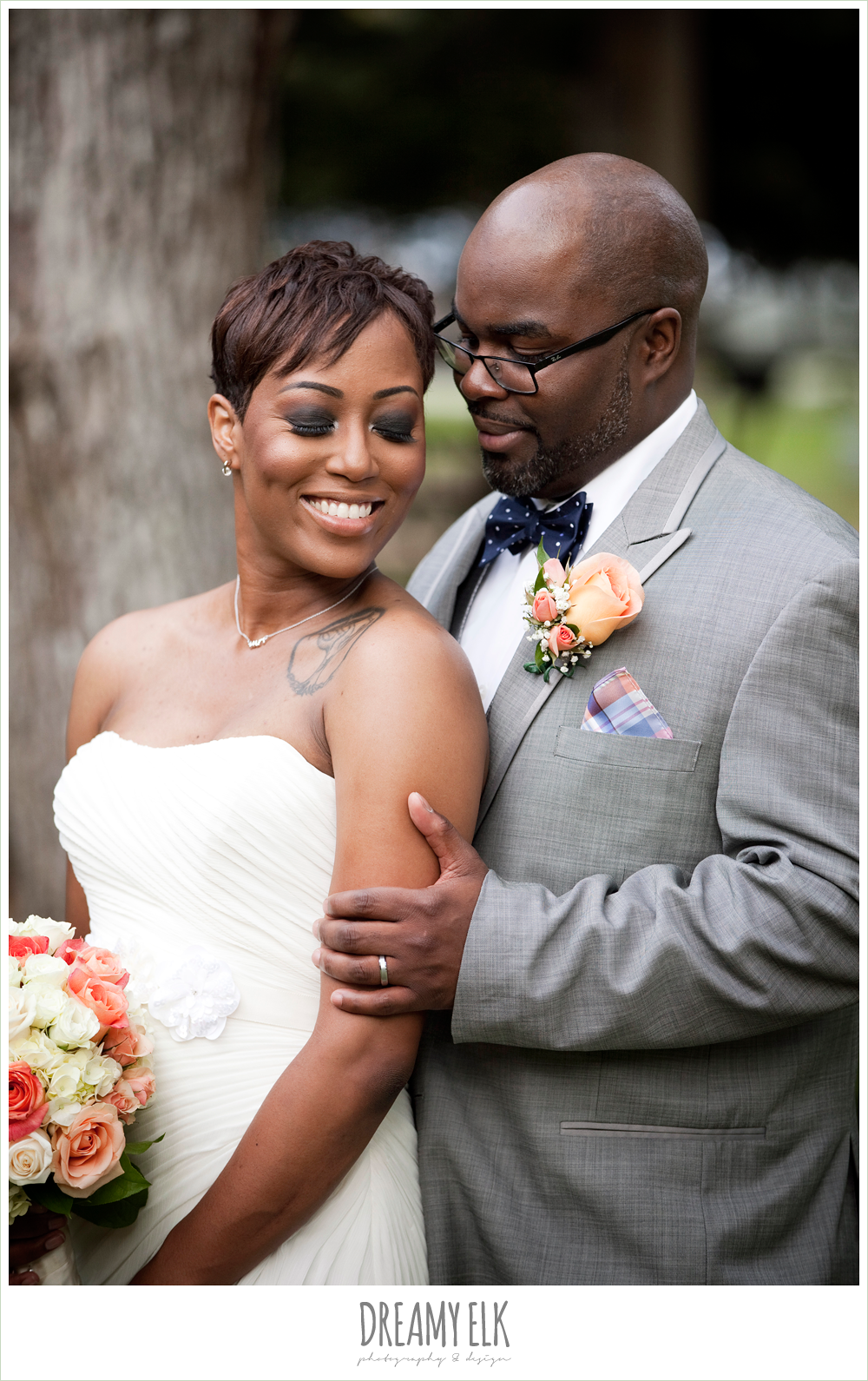 gray suit, strapless wedding dress, northwest forest conference center, dreamy elk photography and design