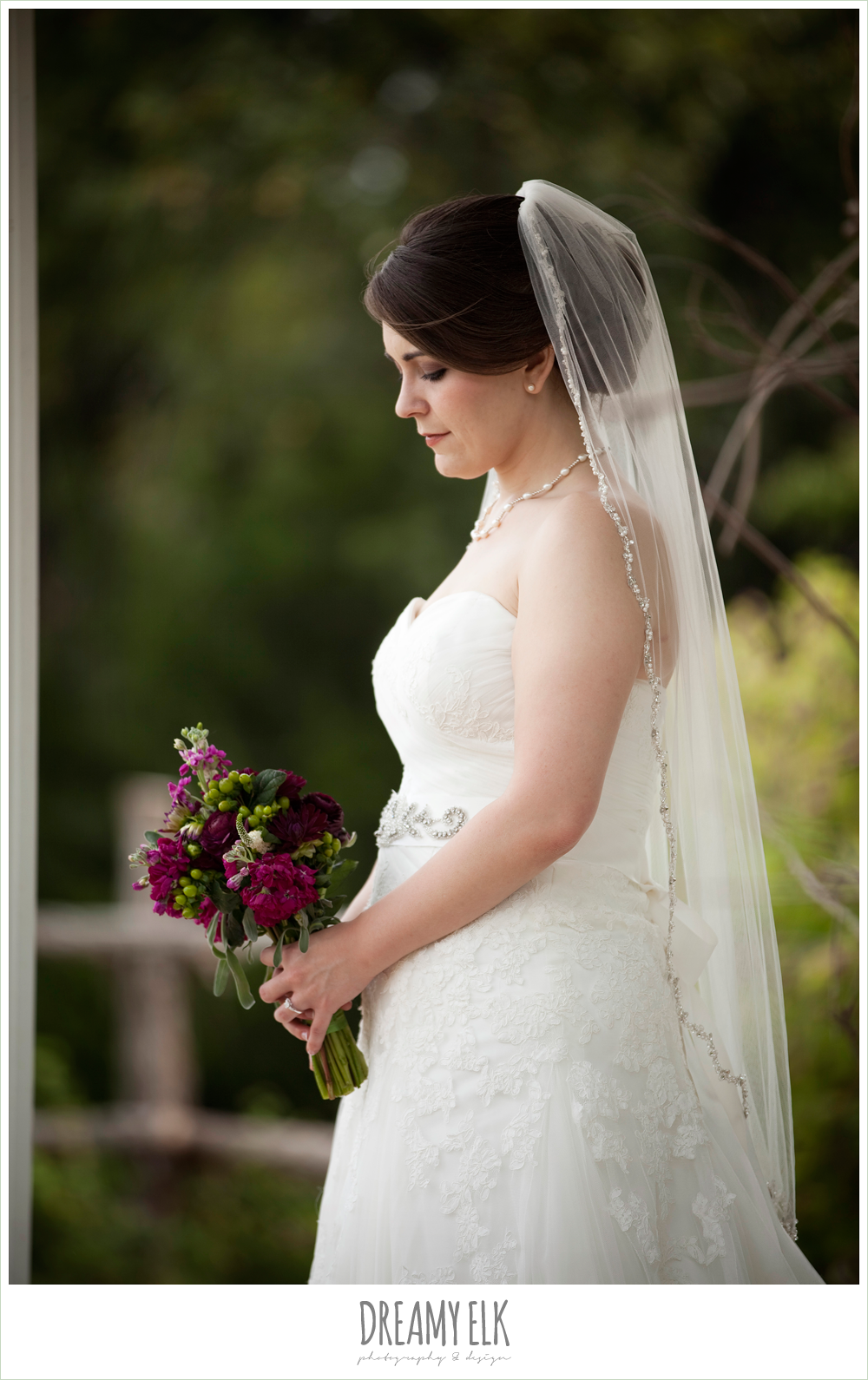 sweetheart strapless lace wedding dress, beaded veil, green and purple wedding bouquet