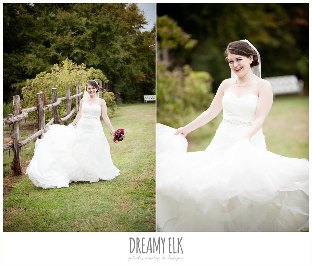bride twirling wedding dress, sweetheart strapless lace wedding dress, green and purple wedding bouquet