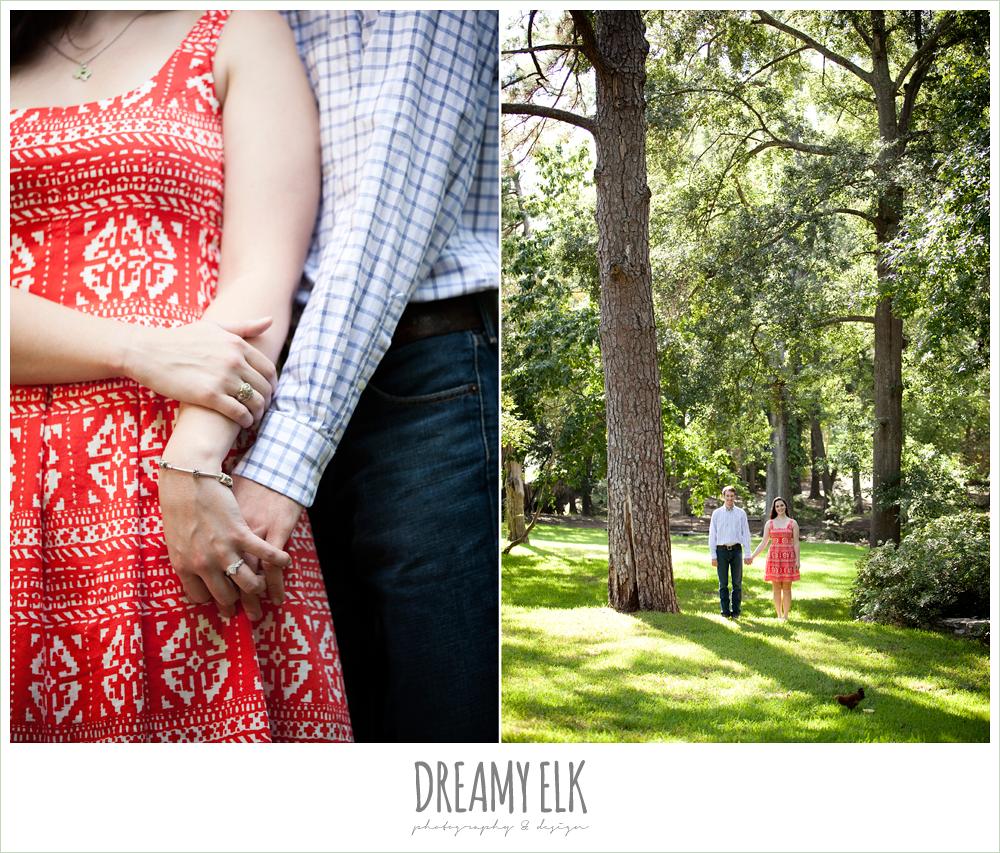 summer casual engagement photo, sam houston memorial park