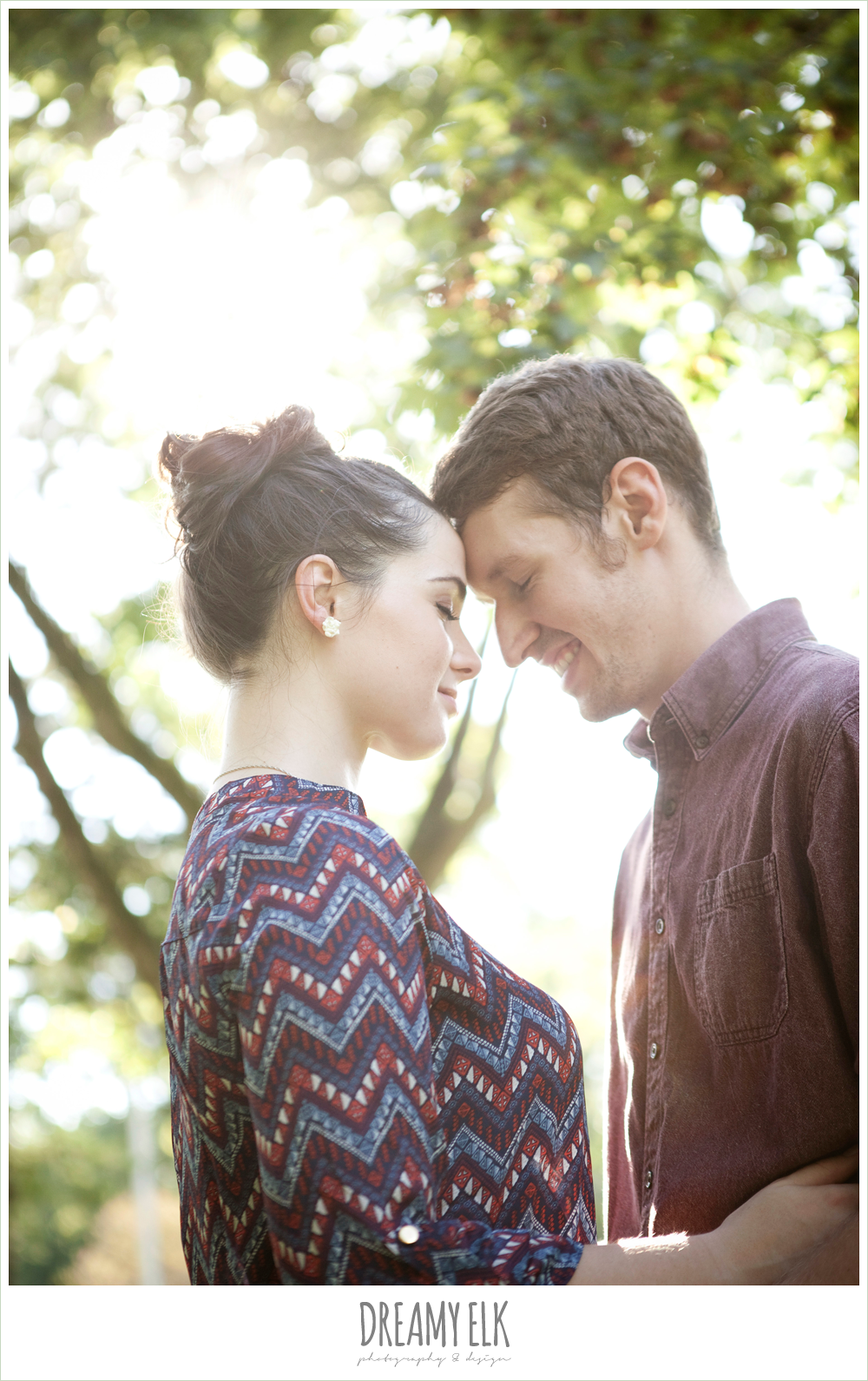 summer casual rustic engagement photo, sam houston memorial park