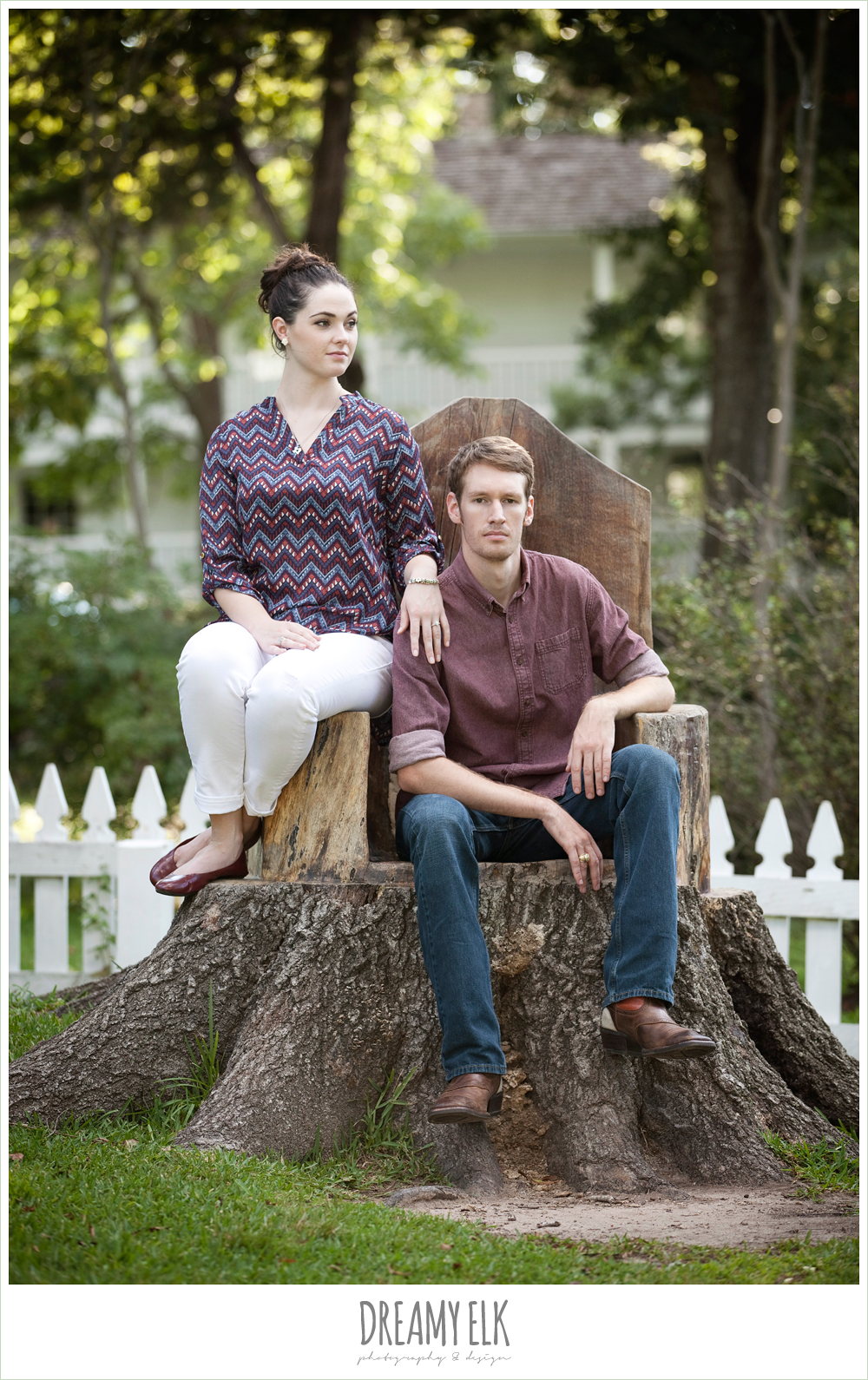 funny summer casual rustic engagement photo, sam houston memorial park