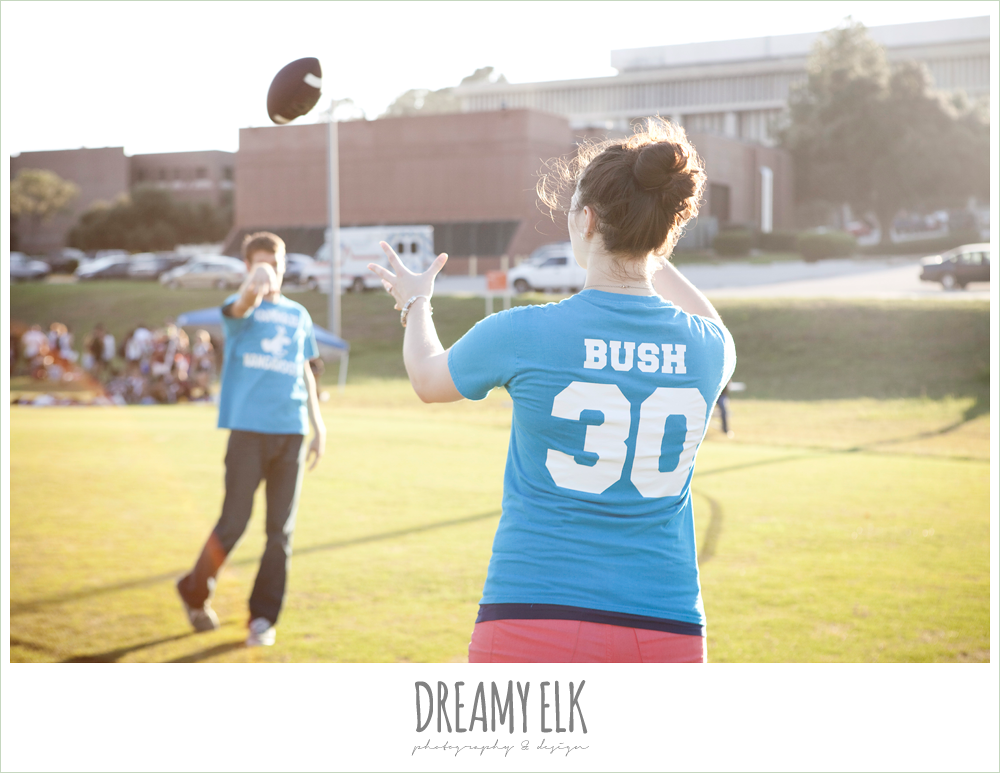 flag football, engagement photos for athletic couples