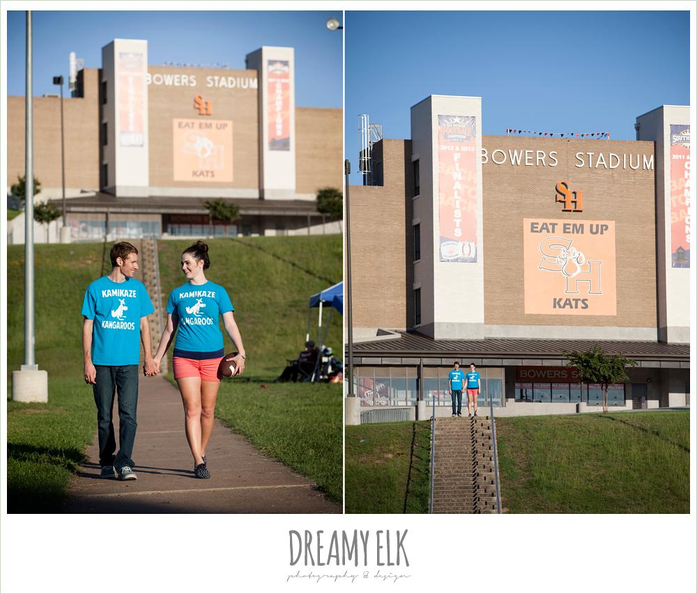 sam houston university, flag football, engagement photos for athletic couples