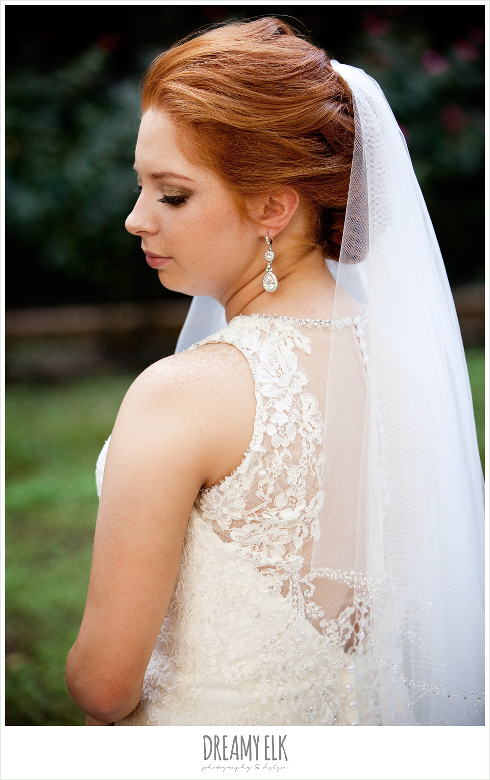 high-necked lace wedding dress with buttons, wedding hair updo, mid length veil, dreamy elk photography and design