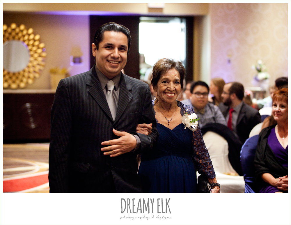 hilton hotel ballroom, university of houston, wedding ceremony, dreamy elk photography and design