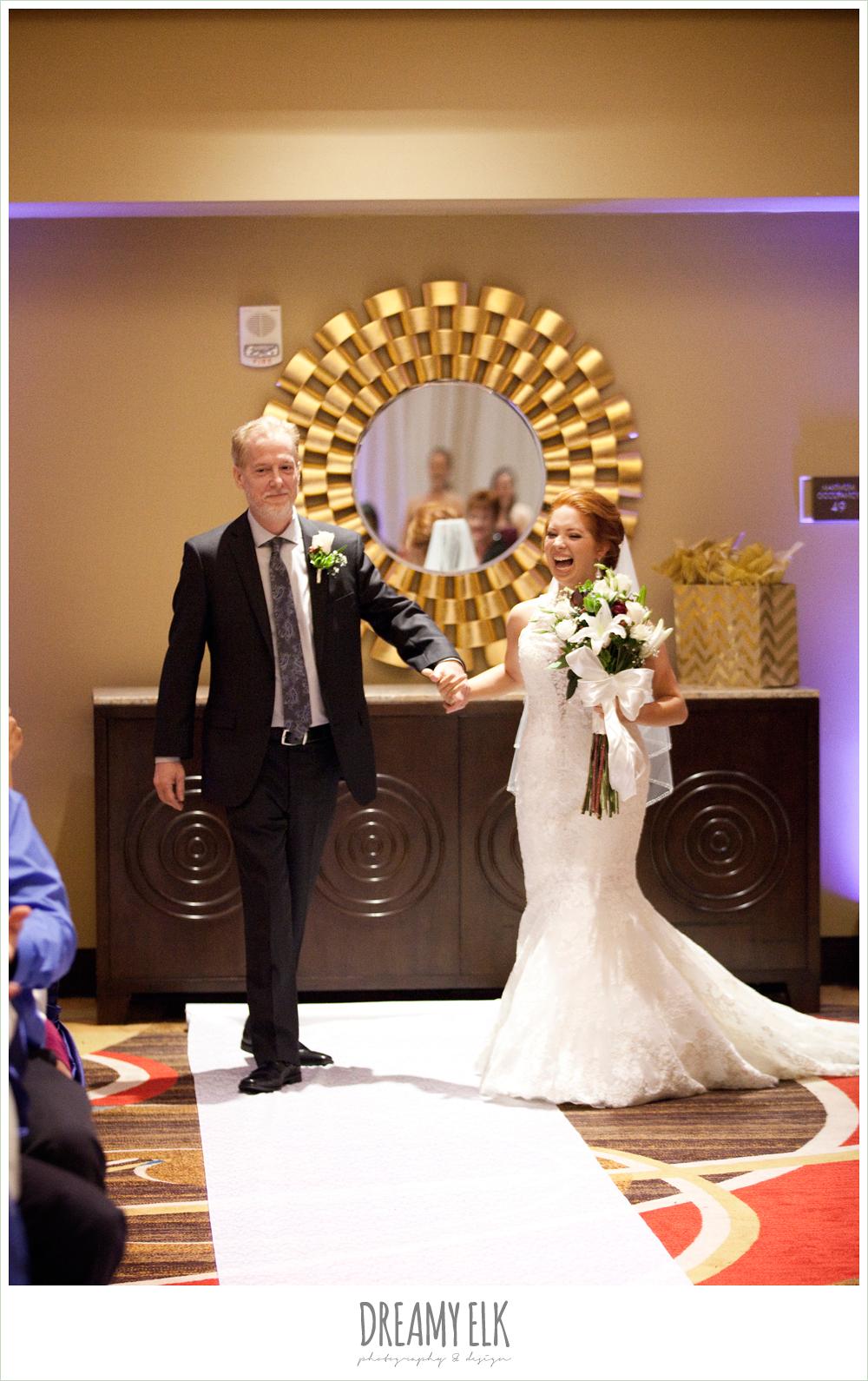 hilton hotel ballroom, university of houston, bride walking down the aisle, wedding ceremony, dreamy elk photography and design