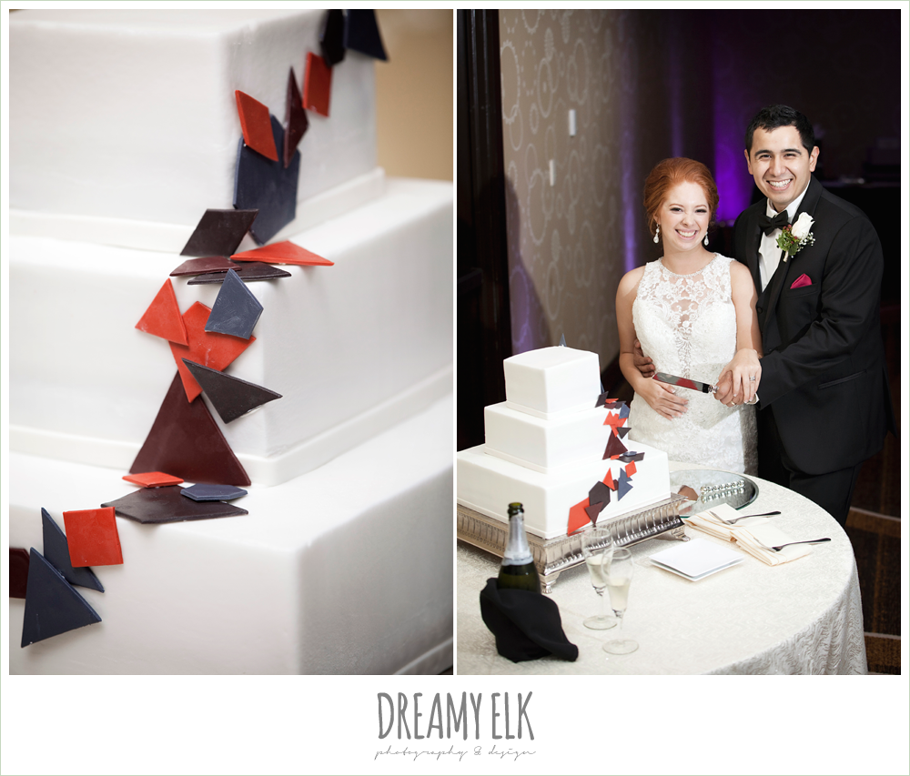 cutting the cake, three tier white wedding cake, geometric shapes, hilton hotel ballroom, dreamy elk photography and design