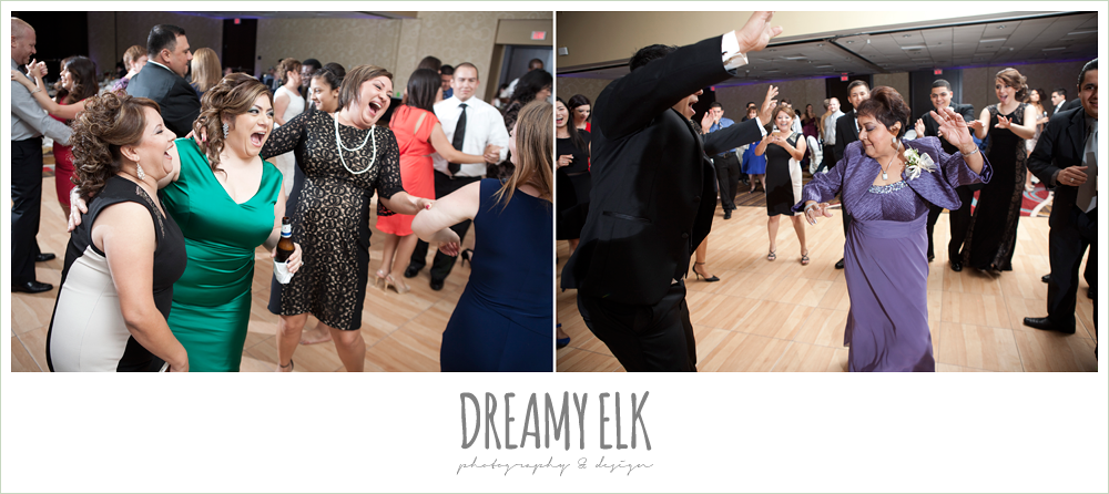 wedding guests dancing, hilton hotel ballroom, university of houston, dreamy elk photography and design