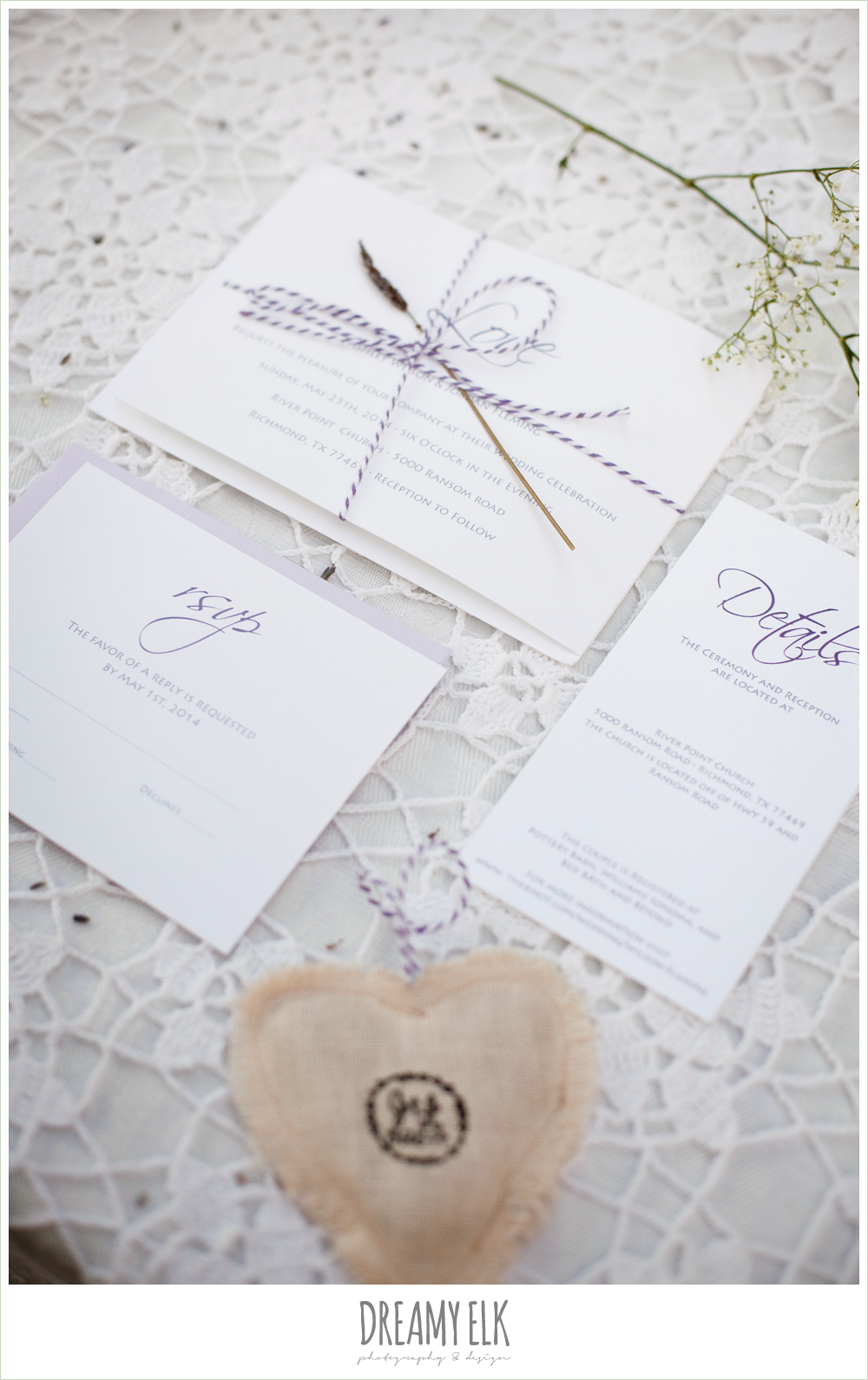 wedding invitation, lavender, lace, rustic chic post wedding shoot, dreamy elk photography and design