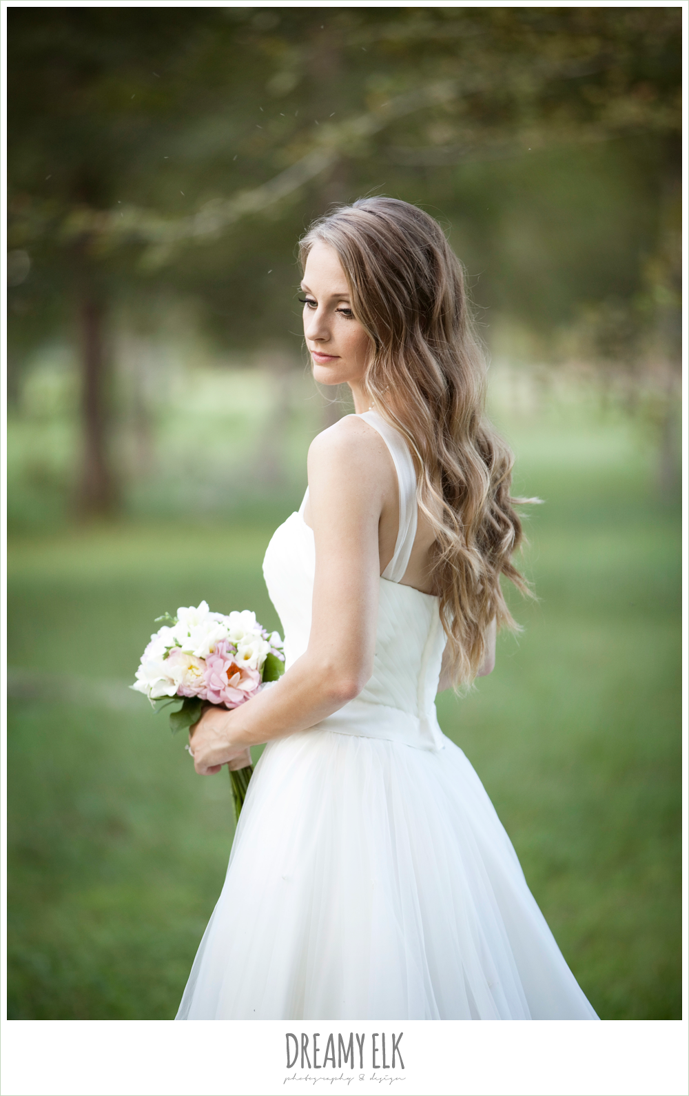 wedding hair down, spaghetti strap tulle wedding dress, rustic chic post wedding shoot, dreamy elk photography and design