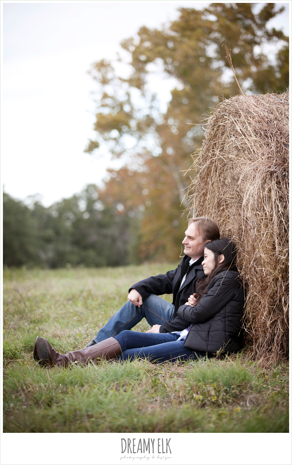 shin and derek, winter engagements with a haystack, dreamy elk photography and design