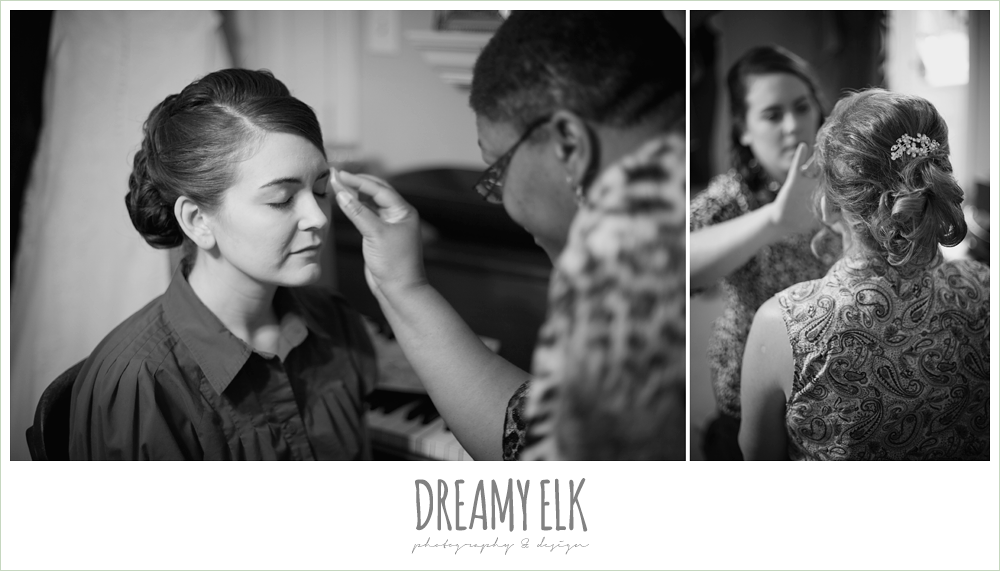 bride putting makeup on, dreamy elk photography and design