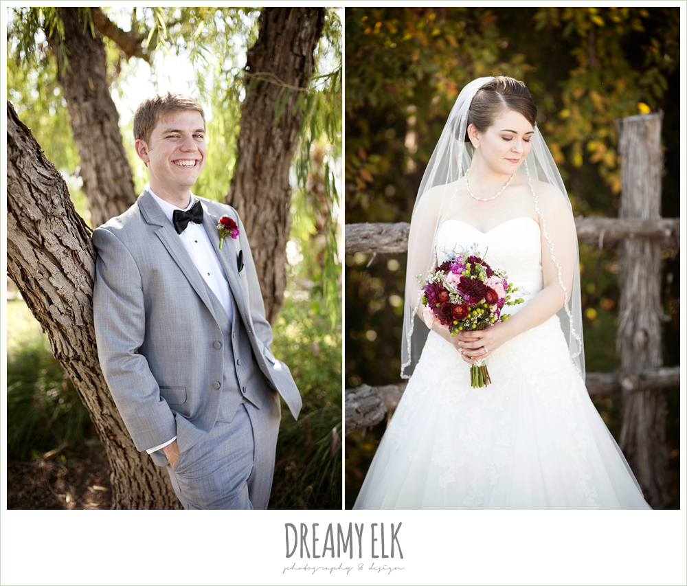 groom in gray suit, sweetheart strapless wedding dress, october wedding, inn at quarry ridge, dreamy elk photography and design