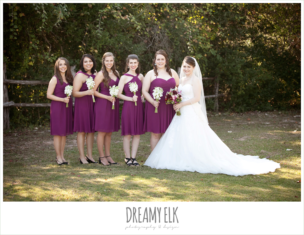 david's bridal, raspberry bridesmaids dresses, october wedding, inn at quarry ridge, dreamy elk photography and design