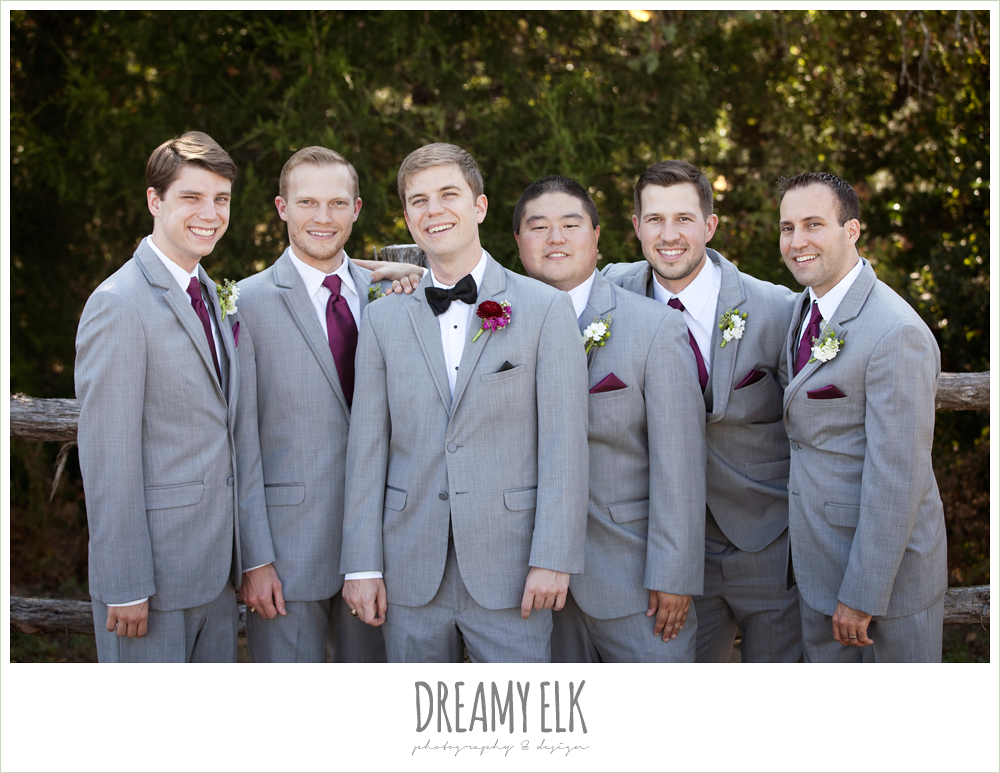 groom and groomsmen in gray suits, october wedding, inn at quarry ridge, dreamy elk photography and design