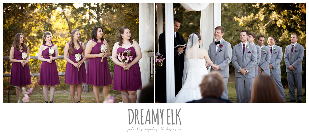 raspberry bridesmaids dresses, gray suits, october wedding, inn at quarry ridge, dreamy elk photography and design