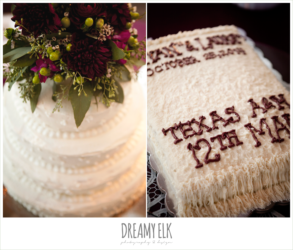 four tiered wedding cake, aggie groom's cake, october wedding, inn at quarry ridge, dreamy elk photography and design
