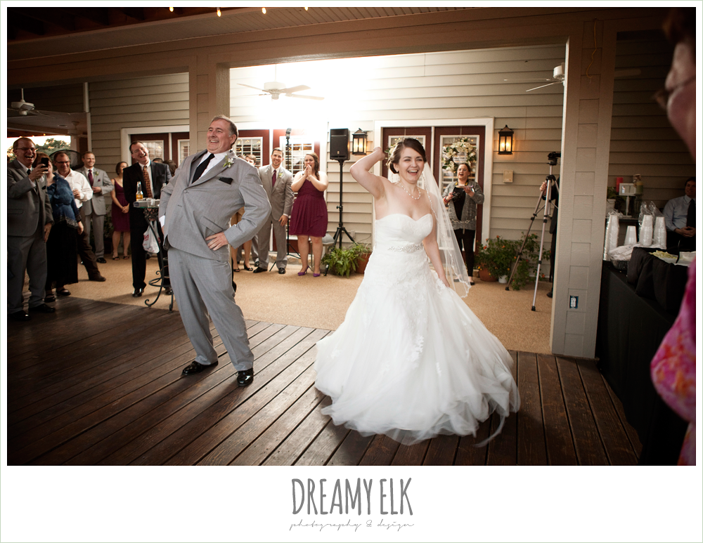 bride and father of the bride dancing, october wedding, inn at quarry ridge, dreamy elk photography and design