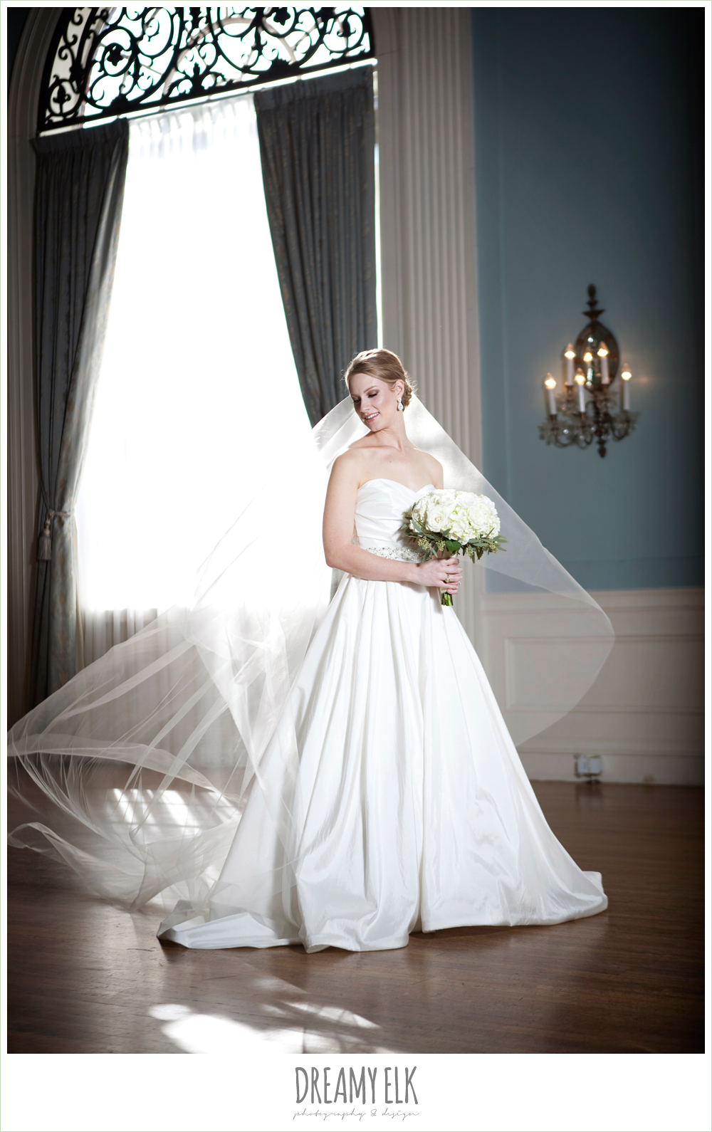 indoor bridal photo, cathedral length veil, dreamy elk photography and design