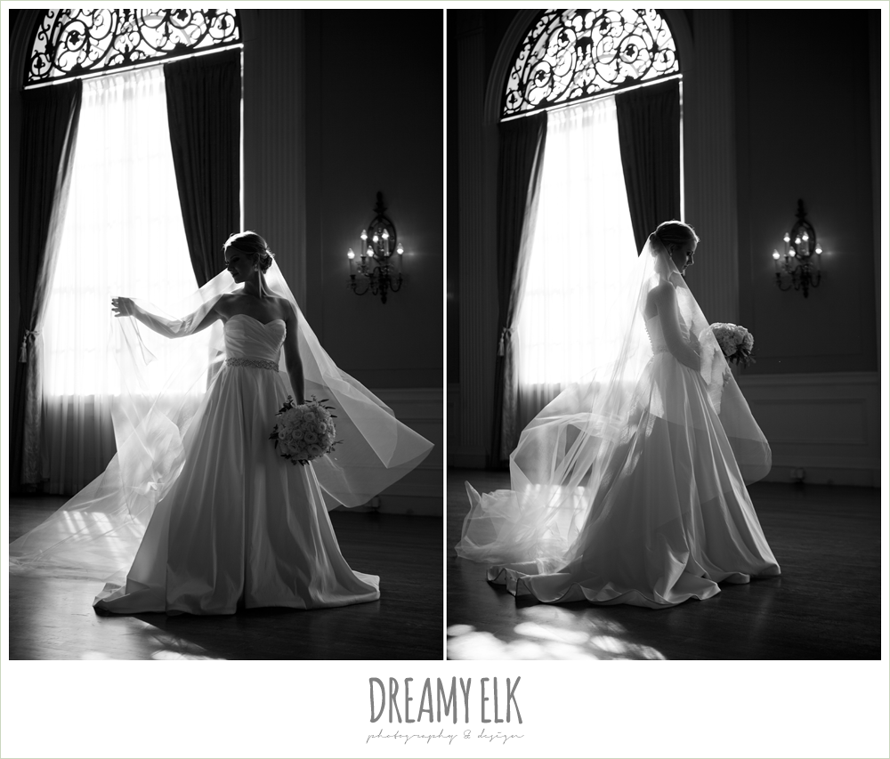 bride standing in window, indoor bridal photo, cathedral length veil, dreamy elk photography and design