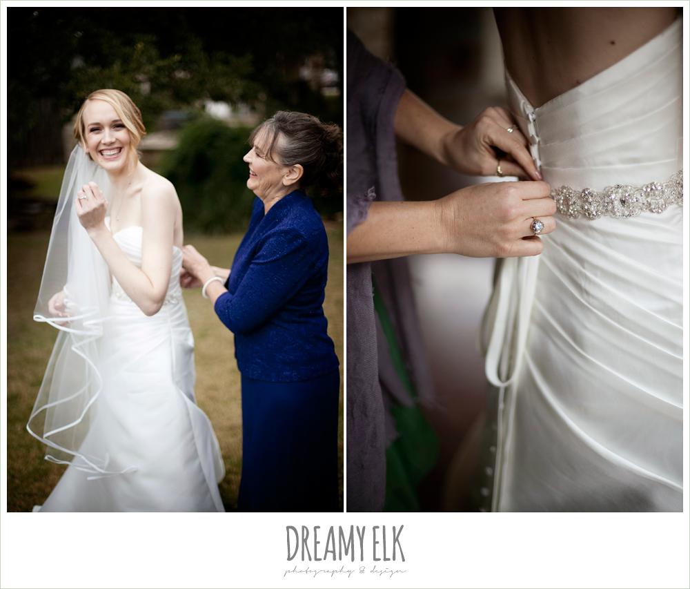 bride getting dressed, winter vineyard wedding, dreamy elk photography and design