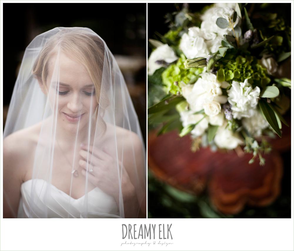 sweetheart strapless wedding dress, white green and purple wedding bouquet, winter vineyard wedding, dreamy elk photography and design