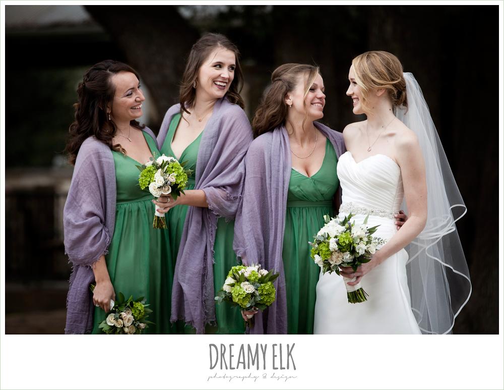 green bridesmaids dresses, purple shawls, sweetheart strapless wedding dress, winter vineyard wedding, dreamy elk photography and design