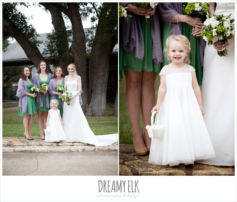 short green bridesmaids dresses, purple shawls, flower girl, winter vineyard wedding, dreamy elk photography and design