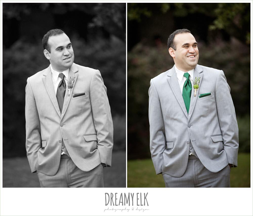 groom in gray suit and green tie, winter vineyard wedding, dreamy elk photography and design