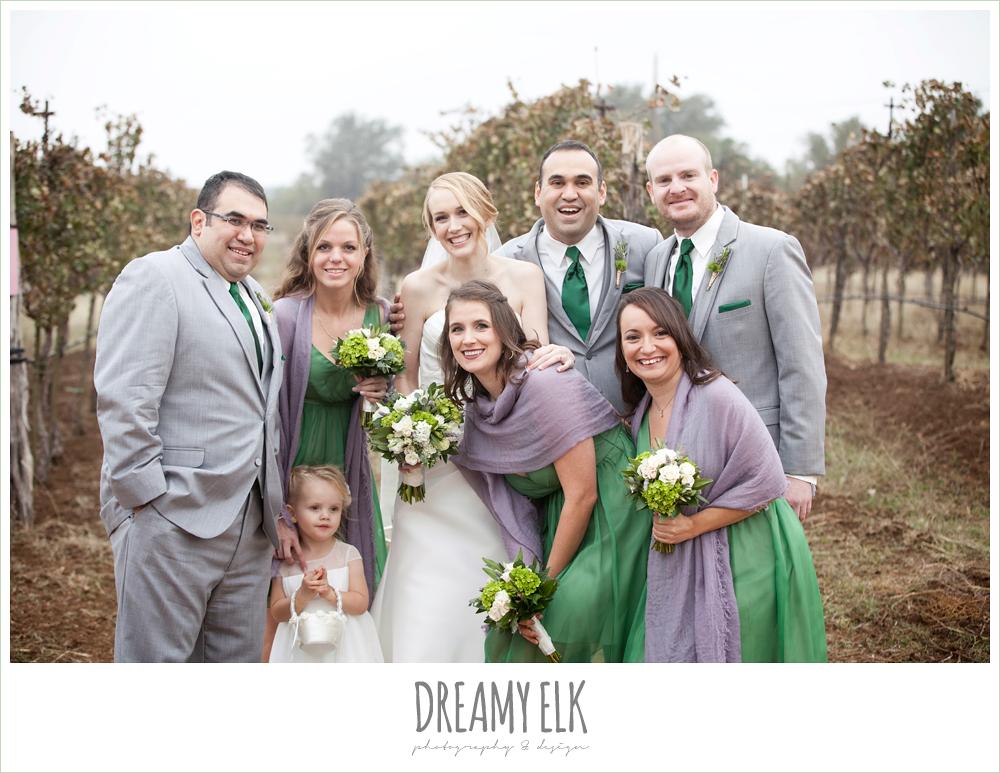 fun bridal party, short green bridesmaids dresses, purple shawls, gray suits, winter vineyard wedding, dreamy elk photography and design