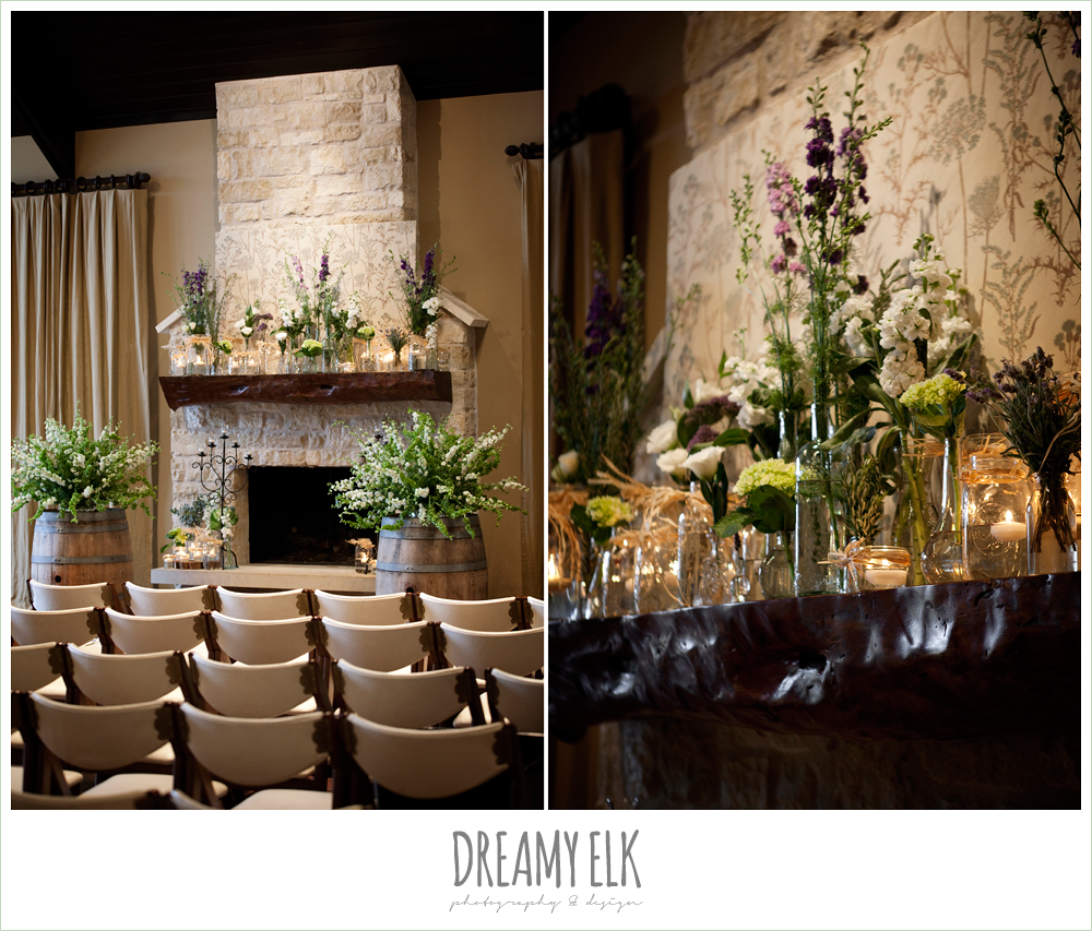 ceremony flowers, white green and purple flowers, winter vineyard wedding, dreamy elk photography and design