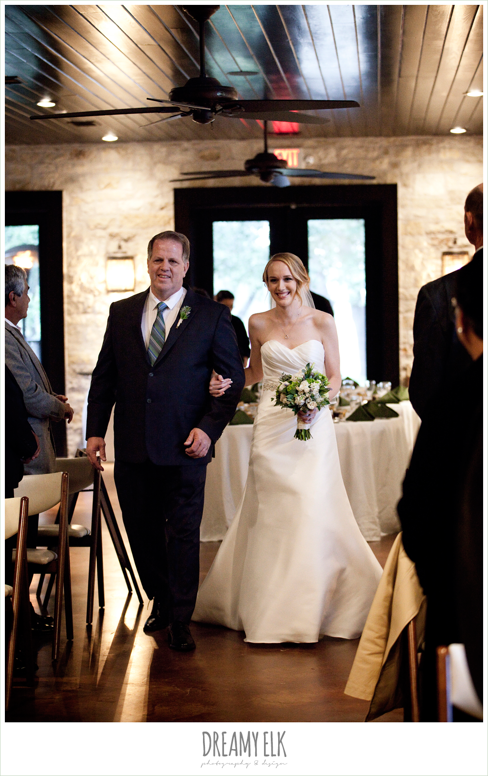 bride and dad walking down the aisle, winter vineyard wedding, dreamy elk photography and design