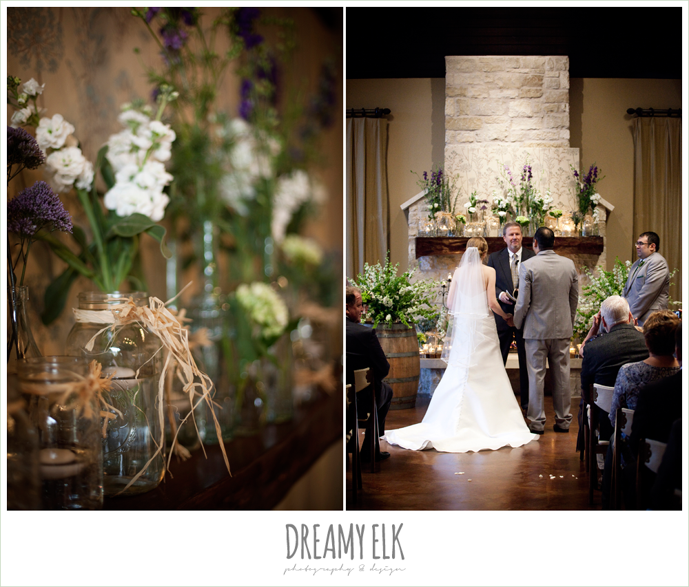 ceremony flowers, green purple and white flowers, winter vineyard wedding, dreamy elk photography and design