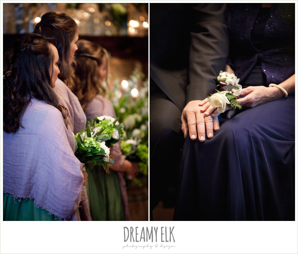 green bridesmaids dresses, purple shawls, winter vineyard wedding, dreamy elk photography and design