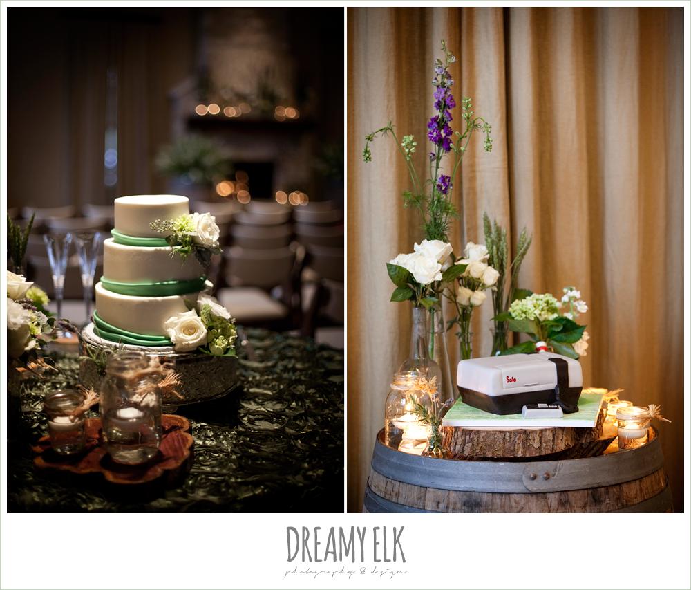 three tier wedding cake, green and white, nintendo groom's cake, winter vineyard wedding, dreamy elk photography and design