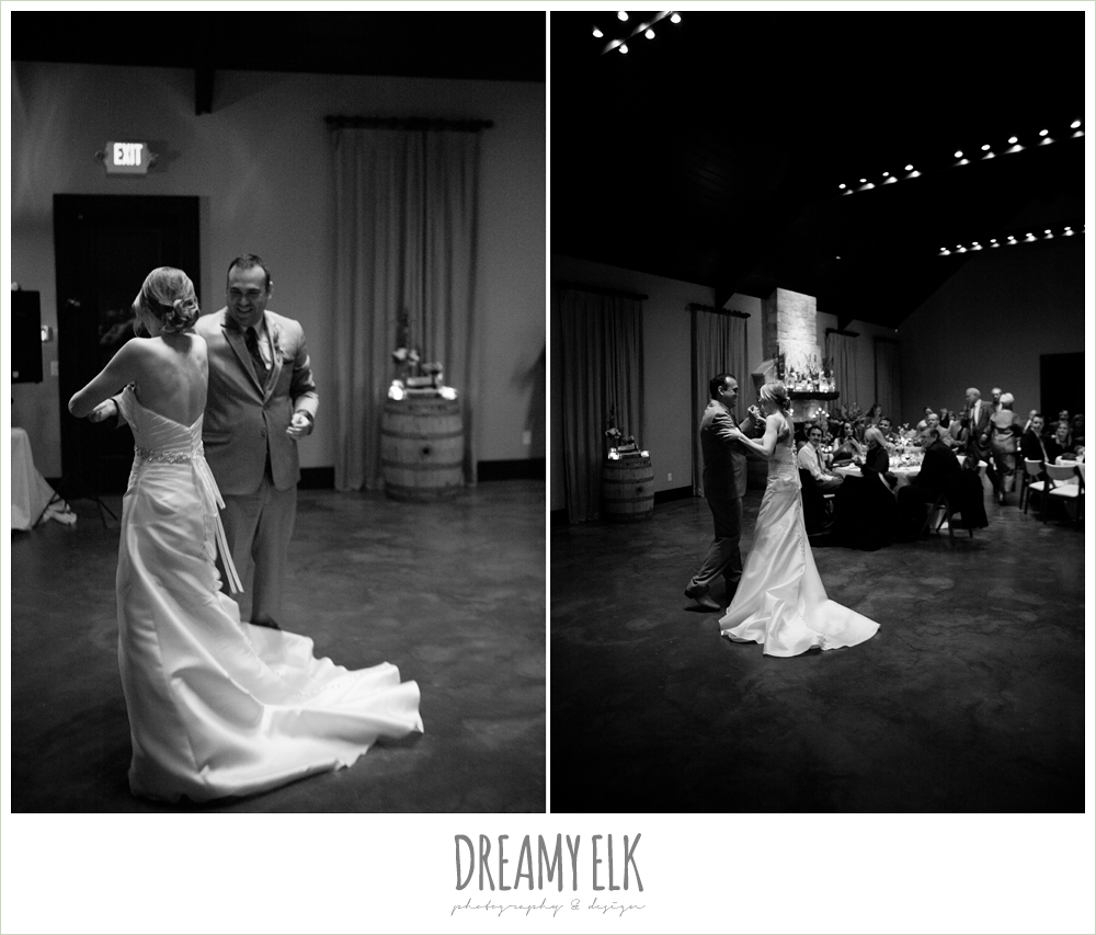 black and white, bride and groom dancing, winter vineyard wedding, dreamy elk photography and design