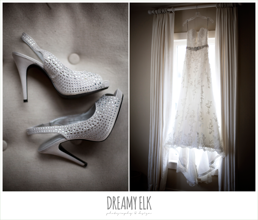 silver high heel wedding shoes, lace wedding dress hanging int he window, fall wedding, rock lake ranch, dreamy elk photography and design