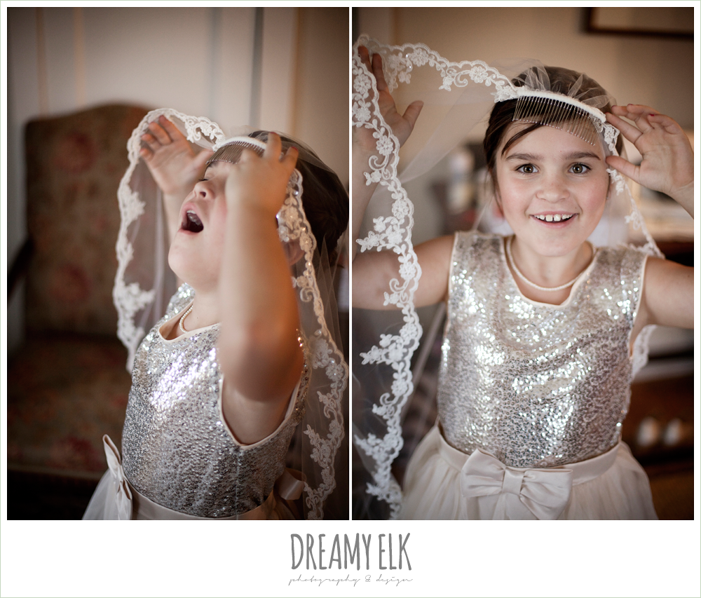 funny flower girl playing with lace wedding veil, fall wedding, rock lake ranch, dreamy elk photography and design