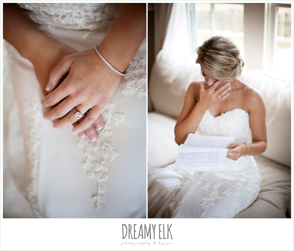 yellow diamond engagement ring, bride reading a letter, fall wedding, rock lake ranch, dreamy elk photography and design