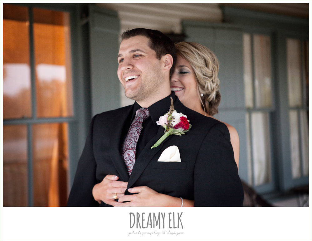 bride walking up behind groom, first look, white pink and red boutonniere, fall wedding, rock lake ranch, dreamy elk photography and design