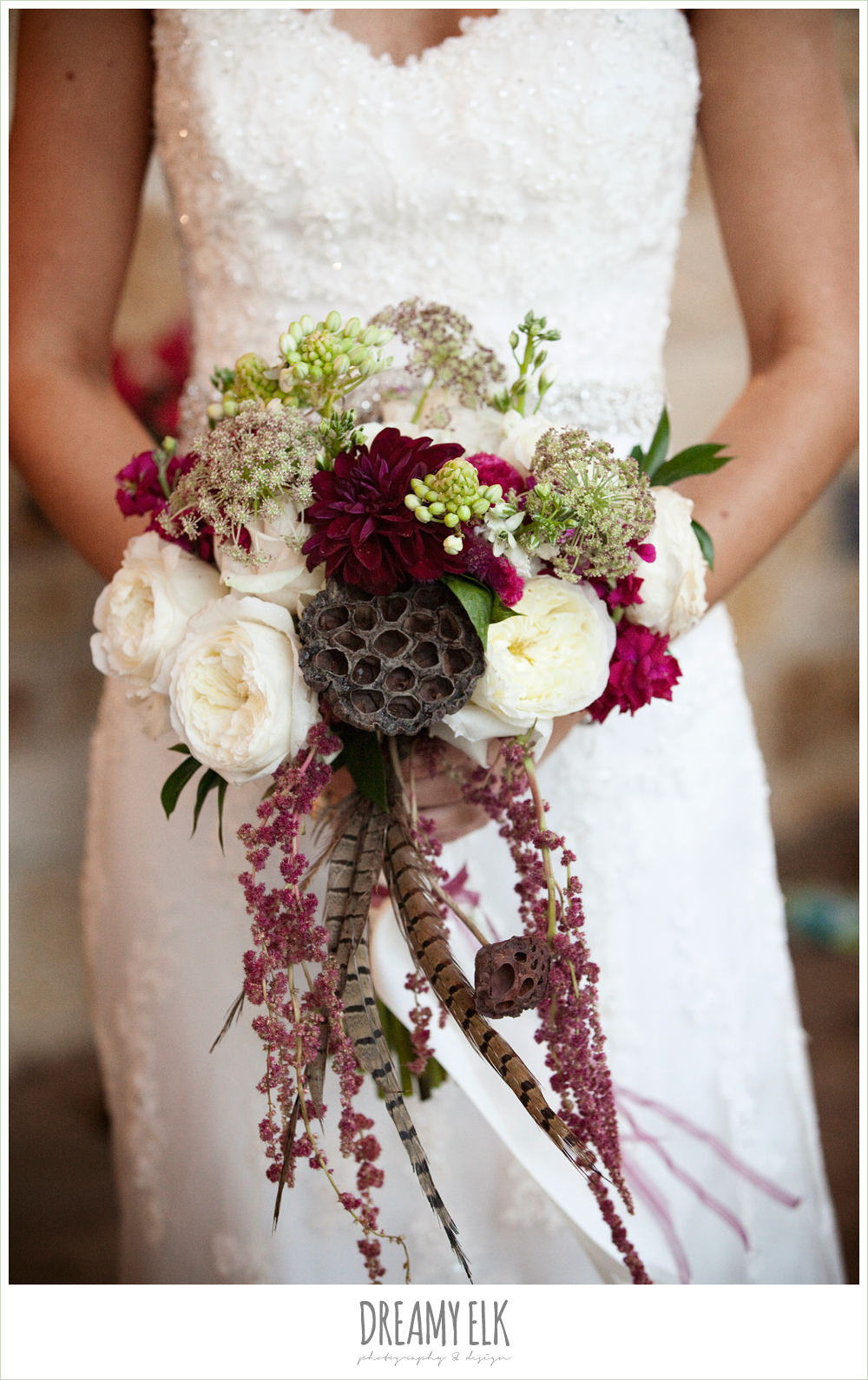 fall wedding bouquet, pheasant feathers, lotus pods, white ranunculus, burgundy dahlia, amaranthus, tricia barksdale, fall wedding, rock lake ranch, dreamy elk photography and design